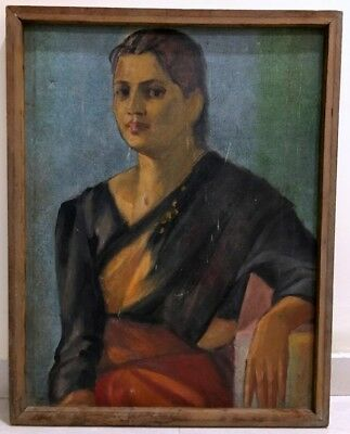 Antique Fine Portraits Woman Beautiful Oil Canvas Painting Framed