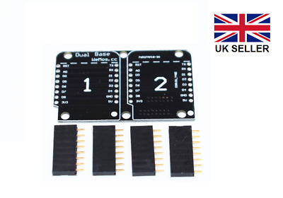 Double Socket Dual Base Shield for WeMos D1 Mini ESP8266 with header pins