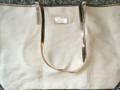 LAURA GELLER Tote Bag Beige Glitter Rose Gold Copper New & Sealed