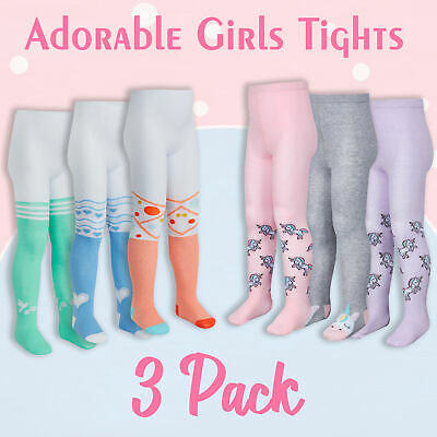 Girls Infant Kids Unicorn School 3 Pairs Tights 2-8 Years Cotton Rich Warm Cute