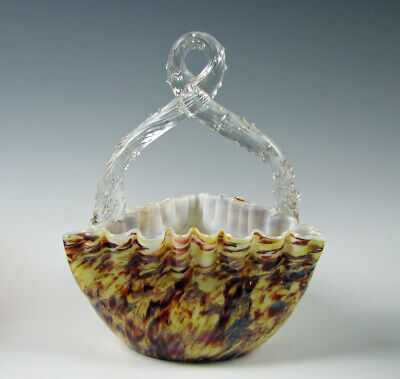 Antique Victorian Art Glass Basket with Twisted Branch Handle