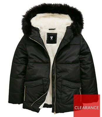 Bnwt Very Girls Faux Fur Lined Padded Jacket Black 6 Years Rrp £44 Mjlgh