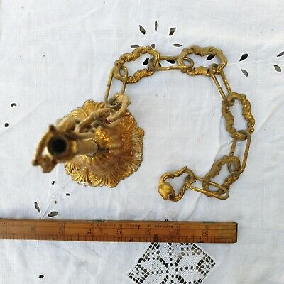 Antique heavy ornate ceiling rose and chain for chandelier French rococo