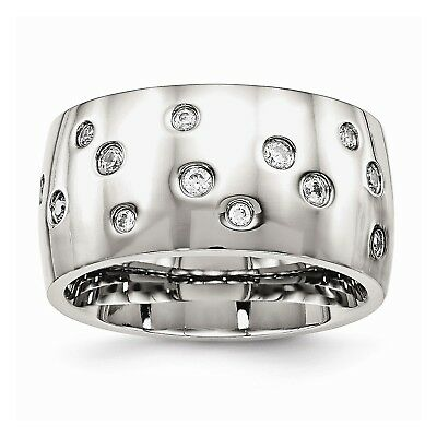 Stainless Steel Polished CZ Ring (12mm)