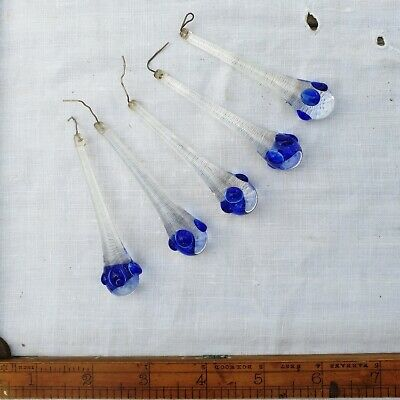 Clear Vintage Hand Blown Murano Glass Tear Drops with Blue Chandelier Italian 3""