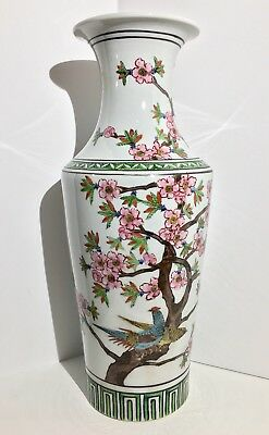 A Early 20th C. Chinese Antique Famille Verte Peacock Baluster Vase