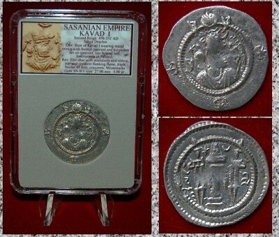 Efficient Ancient Coin Sassanian Empire Kavad I Fire Altar First Reign Silver Drachm Greek (450 Bc-100 Ad)