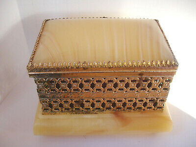 VINTAGE Regency Ormolu Metal & Alabaster Jewelry Box Gold Filigree Casket Style