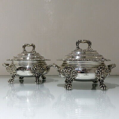 19th Century Antique William IV Old Sheffield Plate Pair Sauce Tureens 1830