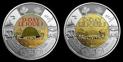 NEW! 2019 75th D-Day COLOURED + NO COLOUR UNC Canada $2 Dollar Coins