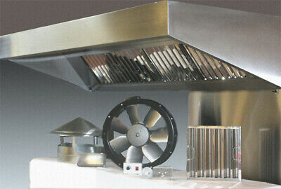 Commercial Kitchen Hood Canopy 8ft Extraction Kit Steel Fan Motor Ducting 1 200 00 Picclick Uk