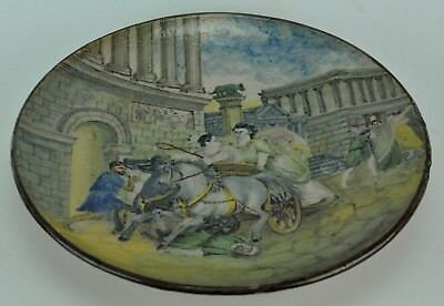 """Antique ceramic wall plate with lady in carriage.   10 ¼"""" D  (BI#MK/180322)"""