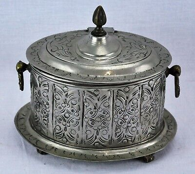 "Antique Turkish Islamic Metal Tea Caddy / Box, signed, 6 ½"" x 8 ½.(BI#MK/181121)"