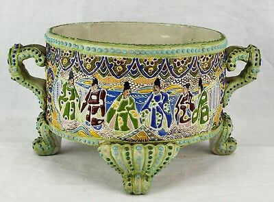 Antique Japanese Moriage centerpiece / bowl with tin insert.  (BI#MK/180211)