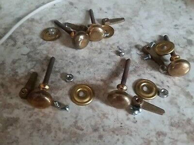 "Lot Vtg Solid Brass Round Dome Cabinet Knobs Drawer Pulls Heavy  3"" All Hardware"