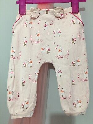 Cute Baby Girls Designer Ted Baker Pink Bunny Print Hareem Trousers 12-18m🎀
