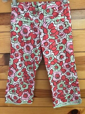 02b435b0cb4de Mini Boden Floral Capri Pants Girls White Drawstring Cropped Pants Size 7-8Y