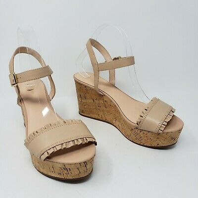 1f0868eec8 New Kate Spade ♤ Tomas Nude Blush Leather Cork Wedges Sandals Womens Size  9.5 M