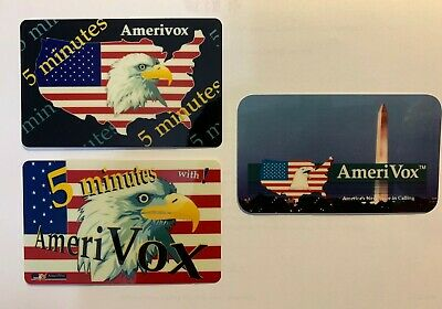 Amerivox (1992) HANDCUT Monument Phone Card + 2 American Flag Cards