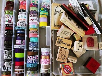 80 Washi tapes and 28 rubber stamps LOT