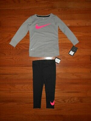6e370ad8eeaad NWT Nike Toddler Girls 2pc grey shirt and black legging outfit set, Size 3T  &