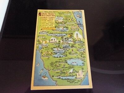 Colorful Attractions of Florida Older Picture Map (No Disney) Vintage Postcard k