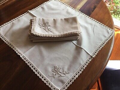 Vintage Pure Cotton serviettes napkins  cream  8