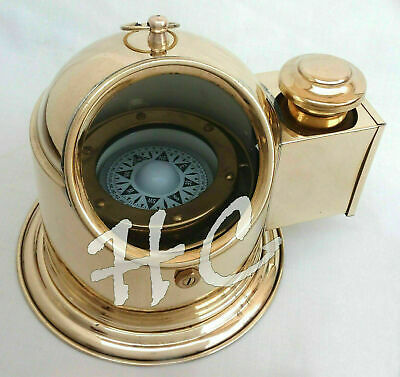Nautical Brass Ship/Boat Oil Lamp Floating Dial Vintage Gimbled Binnacle Compass