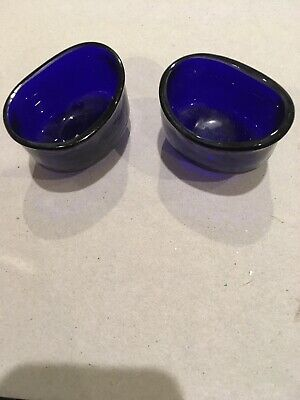 2 blue glass salt liners  ( although I suppose could be eye baths !)