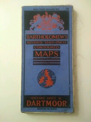 Bartholomews Revised Half Inch Contoured Cloth Map Dartmoor Sheet 36