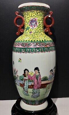 Antique Chinese Famille Rose Canton Qianlong Twin Handle Vase 19th Century