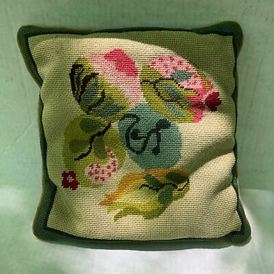 "Vintage 60s abstract floral Handmade Needlepoint Pillow 12"" x12"" - UNIQUE!"