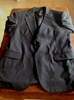Men's Towncraft 2 Button Suit Coat Charcoal Pinstriped 44R Poly/Wool