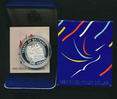 New Zealand: 1990 $1 Waitangi silver Proof cased with cert