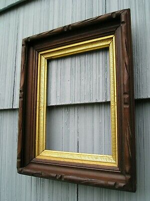 Antique Victorian Deep Carved Edge Wood Picture Frame Striped Gilt Sight 8 x 10