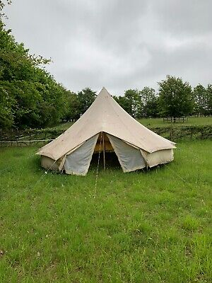 Glamping Camping Andes 4m 100/% Cotton Canvas Bell Tent With Heavy Duty Zipped In Groundsheet Festival Luxury Teepee