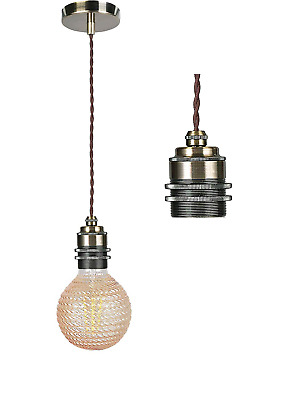 COZZY Antique Brass Ceiling Rose,Modern Ceiling Pendant Light Fitting,E27 Edison