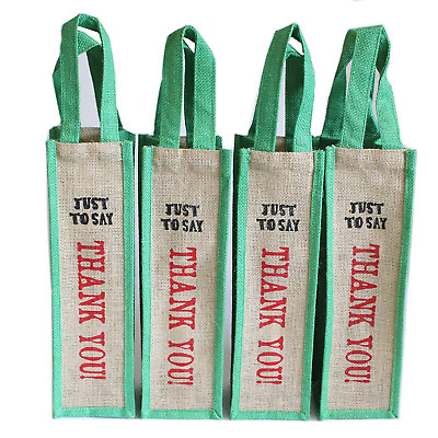 Natural Jute Hessian eco-friendly Wine bottle bag carrier x 4 bags Just to Say -
