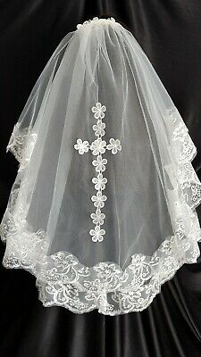 2 Tier Ivory Embroidered Lace Cross Veil, Cross Holy Communion Veil, Bridal Veil