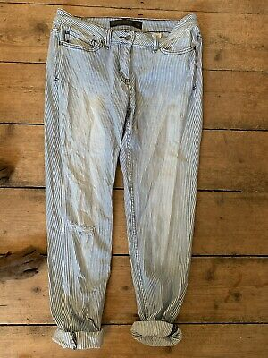 Next Size 10 Regular Relaxed Skinny Blue White Stripe Mom Jeans Ripped Knees