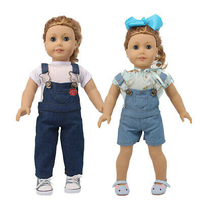 "Hot Latest Handmade Denim Overalls Set Fits 18"" Inch American Girl Doll Clothes"