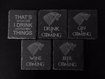 Game Of Thrones Inspired Engraved Slate Coasters - Ideal Present Gift Idea