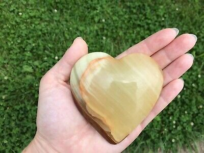 Natural Yellow Banded Onyx Puffy Heart Palm Stone Chakra Reiki Healing Crystal