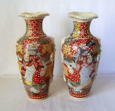 Large Mirror Pair Japanese Red Satsuma Pottery Vases  C.1900:  28 cm high