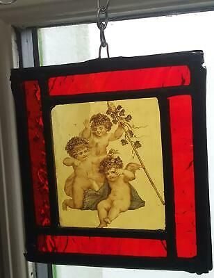 Stained Glass Cherubs angels hanging panel - Traditional kiln fired centre
