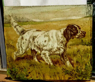 Stained Glass English Setter Dog hunting working Pet - Kiln fired fragment pane