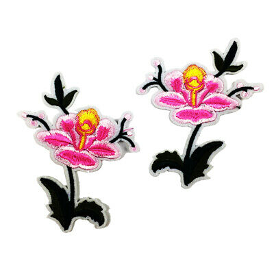 2 Pcs Applique Ecusson Patch Broderie Rose Fleur Coudre DIY Fer à Repasser