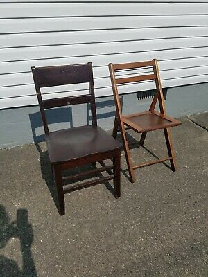 Antique wood folding chair and old school chair.