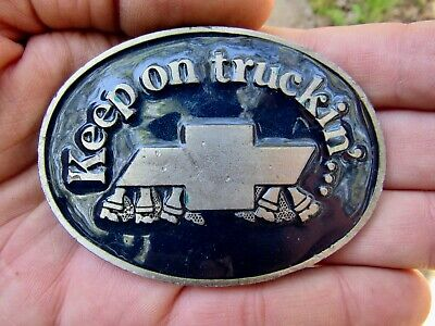 Vtg CHEVY TRUCKS Belt Buckle KEEP Truckin Chevrolet FEET Pewter RARE VG++