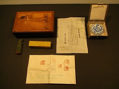 Vintage Chinese Stamp Seal SET w/Porcelain Wax Pot and Box-Nice Condition